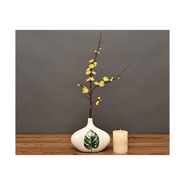 Skyseen 3Pcs Artificial Plum Blossom Branches Flowers Stems Silk Fake Wintersweet Arrangements for Home Wedding Decoration(Yellow)