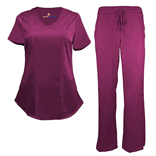 Natural Uniforms Women's Ultra Soft Modern Fit Mock Wrap Scrub Set (Burgundy, X-Small)]()