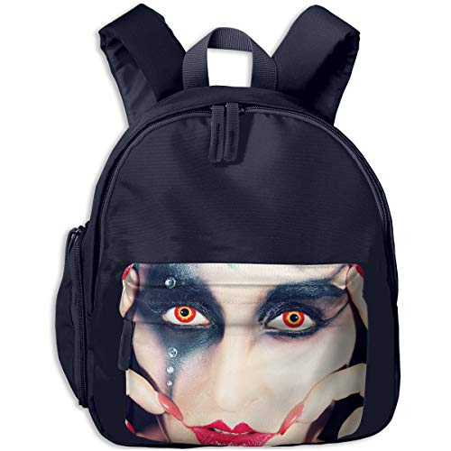 Cool Halloween Red Lips Black Eye Shadow Orange Pupil Girl Children Backpack Pocket Zipper Outdoor Travel School Book Bag