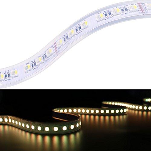Mokungit 5050 RGBW LED Strip Light RGB+Warm White(2700K) 4 Colors in 1 SMD 5050 LED Chip 16.4ft 96 LEDs/m 24V White PCB Waterproof IP67 Mixed Color LED Strip Light