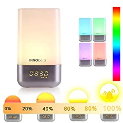 Wake up Light- WakieWell Sunrise Alarm Clock, Sunrise simulation, 5 soft nature sound, touch control, dimmable 256 LED RGB color, bedside lamp, night light, atmosphere mood light -For Heavy Sleepers