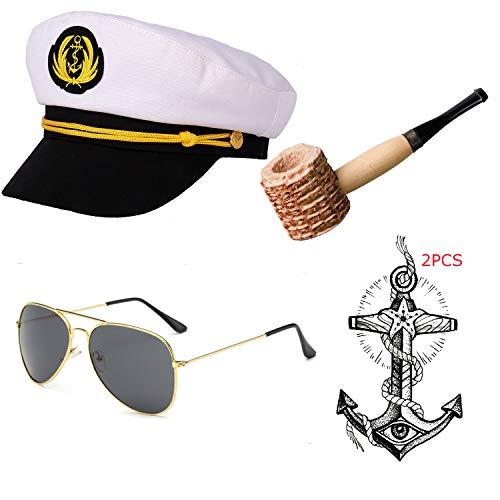 Yacht Captain & Sailor Costume Set - Hat,Corn Cob Pipe,Aviator Sunglasses,Vintage Anchor Temporary Tattoo (OneSize, -