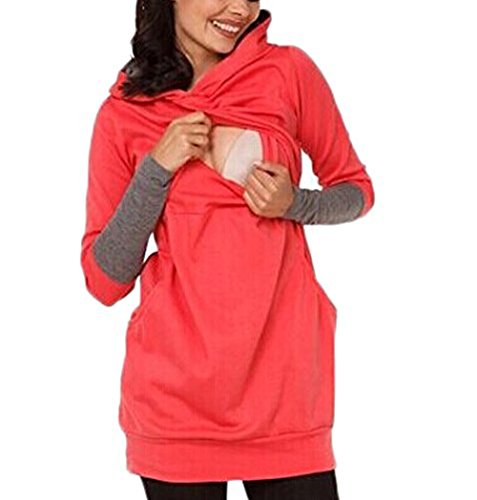 Layered Sleeve Long Hooded T-shirt (Women Double Layered Patchwork Maternity Breastfeeding and Nursing Hoodie Long Sleeve Top (XL, Red))