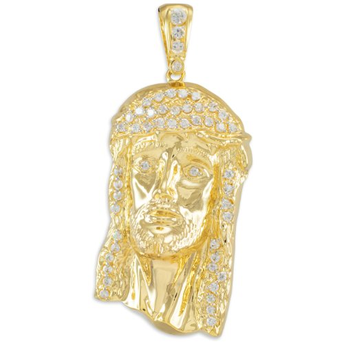 Men's 10k Yellow Gold Iced Out Jesus Face Necklace Pendant, 2.75'' by Religious Jewelry by FDJ