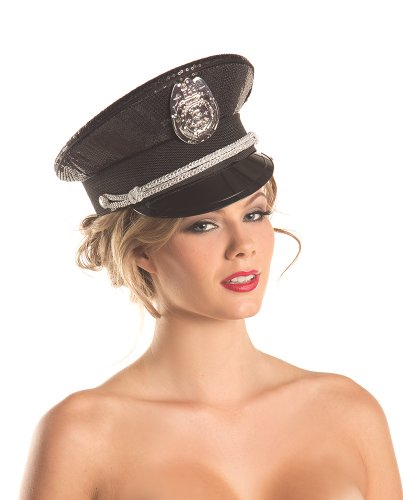 Sequin Police Hat (Be Wicked Women's Sequin Police Hat, As Shown, One Size)