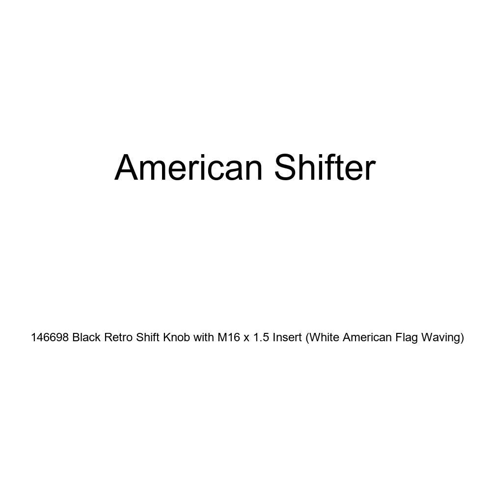 American Shifter 146698 Black Retro Shift Knob with M16 x 1.5 Insert White American Flag Waving