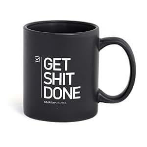 STARTUP VITAMINS Get Shit Done Matte Coffee Mug, Black, 11oz