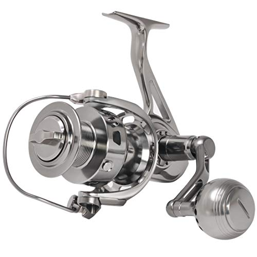 Channelmay CNC Machined Full Metal Powerful Spinning Fishing Reel 20kg Drag Long Cast Saltwater Big Game Boat Surf Fishing 44lb Drag Size 5000 ()