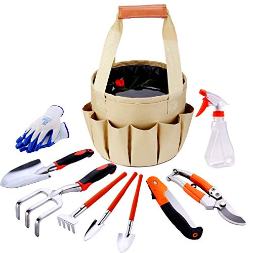 Prostormer Garden Tools Set, 10 Piece Heavy Duty Gardening Kit with Trowel, Pruning Shears, Folding Saw and Durable Storage Bag - All-in-One Garden Gifts Set for Woman and (Shears Gift Set)