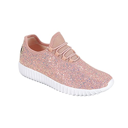 Forever Link Damen REMY-18 Glitter Fashion Sneakers Staubige Rose