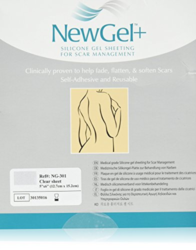 "NewGel+ Silicone Gel Sheeting for Scar Management - 5"" x 6"" Sheet Clear (1 per box)"