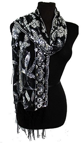 Womens Ladies Mother of the Bride Evening Beaded Fashion Shawl Scarf (Black/Silver)