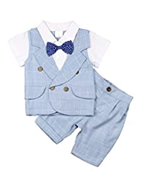 MetCuento Baby Boys Tuxedo Rompers Suit Bowtie Gentlement Outfit Wedding Birthday Outfits Set