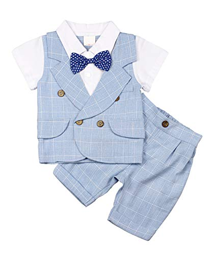 MetCuento Baby Boys Clothes Sets Bow Ties Shirts Short Sleeve Pants Tuxedo Suit White Formal Wedding Outfits(2-3 Years)