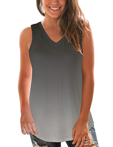 Ombre Tank Tops for Women Loose Fit Summer Tees Sleeveless Legging Tops Grey L