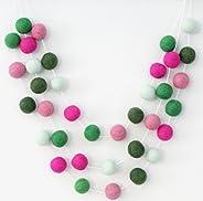 Cactus Party Handmade Felt Ball Garland by Sheep Farm Felt- Green & Pink Pom Pom Garland. 2.5 cm ba