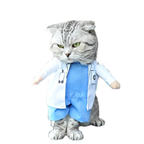 Gotd Doctor costume Pet Dog Winter Clothes Jacket Coat Vest Puppy Cat Sweater Hoodie Apparel (S, (Doctor Dog Costume)