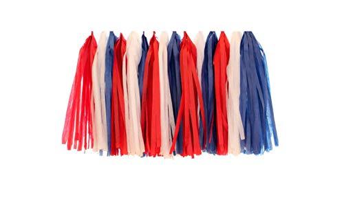 MUZIBLUE 2 Or 3 Packs 1235cm Baby Shower Boy Girl Birthday Tissue Paper Tassel Hanging DIY Party Event Supplies Wedding,White-Blue-red ()