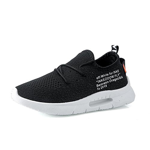 XUEXUE Men's Shoes Knit Spring Fall Lace-up Breathable High-Top Sneakers Running Shoes Outdoor Hiking Shoe Comfort Light Soles Athletic Shoes Light Soles Black, White (Color : B, Size : 38) by XUEXUE (Image #3)