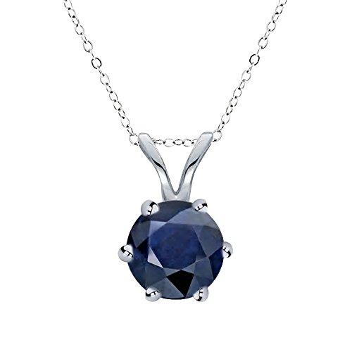 14k Gold Genuine Sapphire Pendant (6mm), 18'' by Voss+Agin