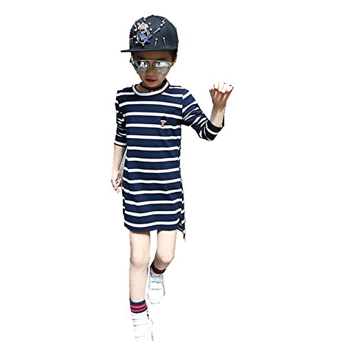 FTSUCQ Girls Long Sleeve Striped Long Shirt Dress,Blue - One Check For All Voucher Balance