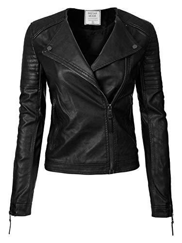 Instar Mode Women's Urban Classic Moto Biker Racer Faux Leather Jacket Black ()