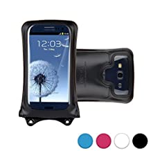 DiCAPac WP-C1 Universal Waterproof Case for Alcatel Pop C2/C3/C5/C7/D5/Icon/S3/S7/2 4.5 in Black (Double Locking System; IPX8 Certified Underwater Protection; Super Clear Photo Lens)