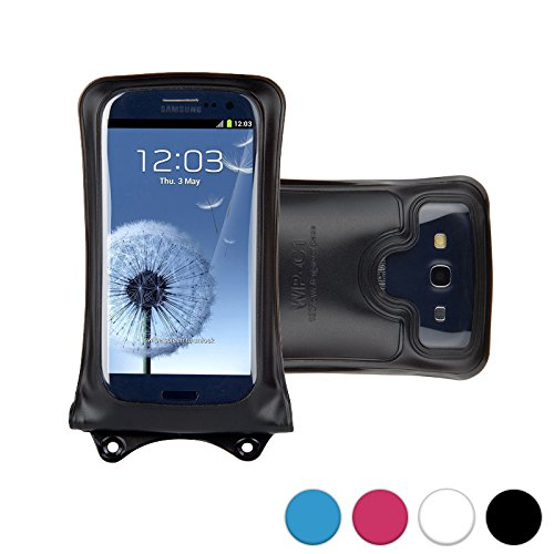 DiCAPac WP-C1 Universal Waterproof Case for Motorola Droid Maxx, Razr HD/Maxx HD, Turbo, Ultra in Black (Double Velcro Locking System; IPX8 Certified Underwater Protection up to 10M; Built-in Airbag Floats & Protects Device; Super Clear Polycarbonate Phot by DiCAPac