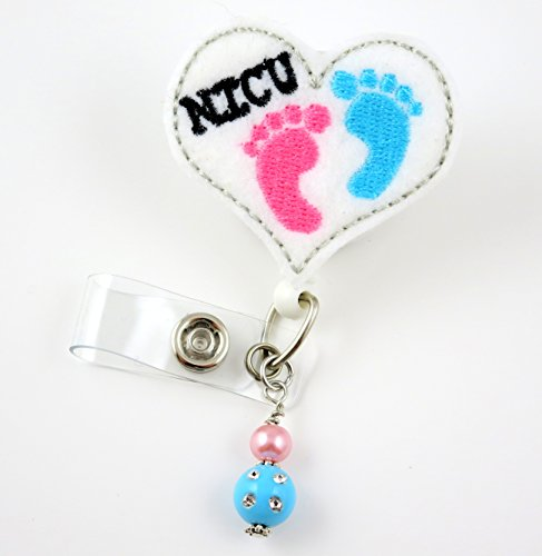 NICU Baby Feet Heart - Nure Badge Reel - Retractable ID Badge Holder - Nurse Badge - Badge Clip - Badge Reels - Pediatric - RN - Name Badge Holder