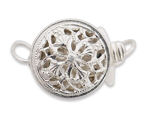 Round Filigree Necklace Clasp - 14K White Gold