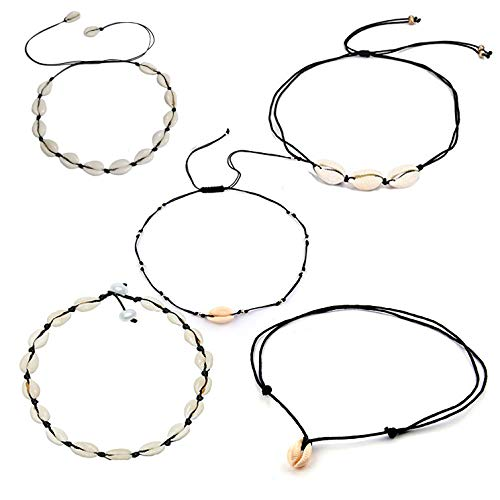 Natural Shell Necklace and Handmade Adjustable Boho Cowrie Shell Choker Necklace Set, Beach Conch Necklace Jewelry for Teens Women Girls Black Wax Line