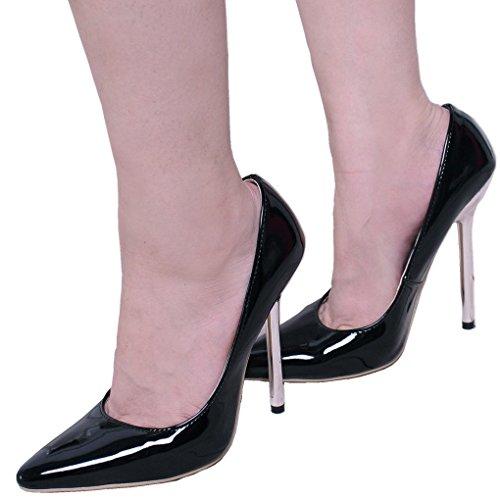 Vestito Nero Delle Caviglia Pompe Non Del Talloni Alti Punta Appuntita Placcato Dello Stiletto Metallo Strp Della Strappy Samsay Donne wgFW8afq