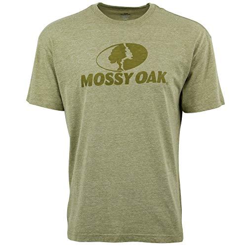 (Mossy Oak Triblend Burnout Logo T-Shirt for Men Olive)