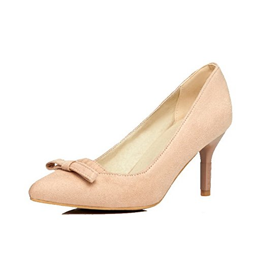WeenFashion Women's Frosted Solid Pull On Pointed Closed Toe Kitten Heels Pumps-Shoes, Beige, 43 by WeenFashion