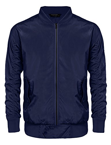 Motorcycle Blue Mens Navy (Coofandy Men's MA-1 Bomber Flight Biker Motorcycle Lightweight Jacket (XX-Large, Navy Blue))