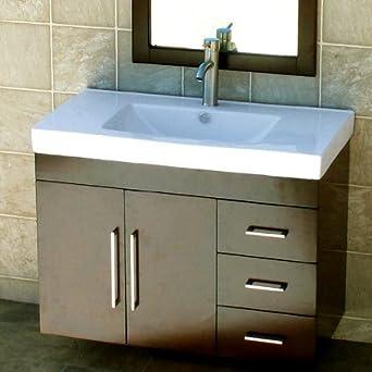 36u0026quot; Bathroom Wall Mounted Vanity Cabinet Dark Cherry Color + Ceramic  Top Sink ...