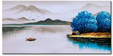 Winpeak Art Hand Painted Chinese Landscape Oil Painting on Canvas Boating on Lake Scenery with Blue Tree