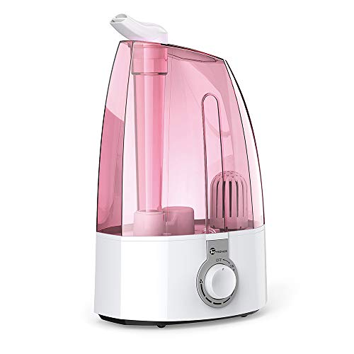 (TaoTronics Ultrasonic Humidifiers,3.5L Cool Mist Humidifier for Home Baby Bedroom with Filter, Two 360°Rotatable Mist Outlets, Classic Dial Knob Control, Pink -(3.5L/0.92 Gallon, US 110V))