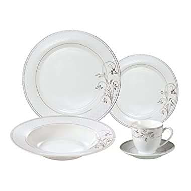 Lorenzo Import Porcelain Dinnerware Set, 24-Piece Service for 4 by Lorren Home Trends: Silver Floral, Silver