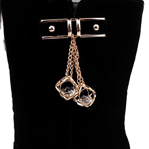 Allhqfashion Femmes Givré Mi-haut Pull Solide Sur Les Pointes Stilettos Bottes Noires
