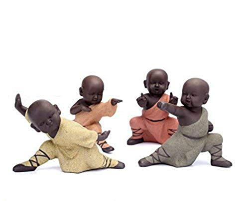 NEWQZ Chinese Kung Fu Monk Figurines for Home Decor, Adorable Figurines Cute Ceramic Statues Tabletop Display Living Room Bedroom Ornaments Decorative Accessories,Set of 4