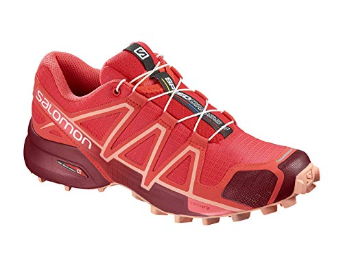 daeaa538a28 Salomon Women s Speedcross 4 Running Trail Shoes Red Dahlia Peach 8.5