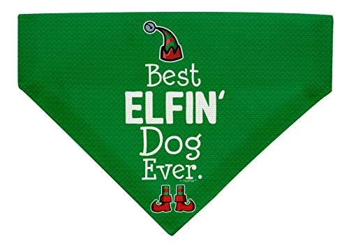 Dog Christmas Costume Best Elfin' Dog Ever Dog Xmas Gifts Large Dog Bandana Scarf for Dogs Bib Green