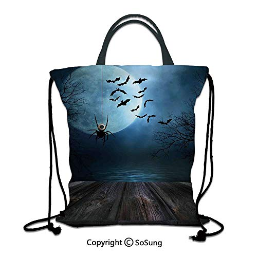 Halloween Decorations 3D Print Drawstring Bag String Backpack,Misty Lake Scene Rusty Wooden Deck Spider Eyeball and Bats Moonlight,for Travel Gym School Beach Shopping,Blue Brown ()