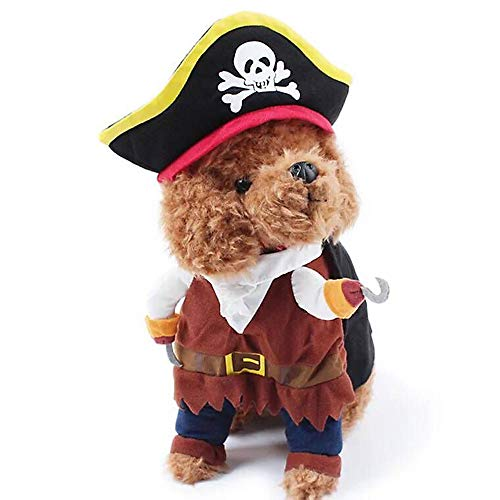 SIBOSUN Pet Dog Costume Cat Pirate Caribbean Halloween Christmas Outfit Clothes Puppy Suit - Size XL]()