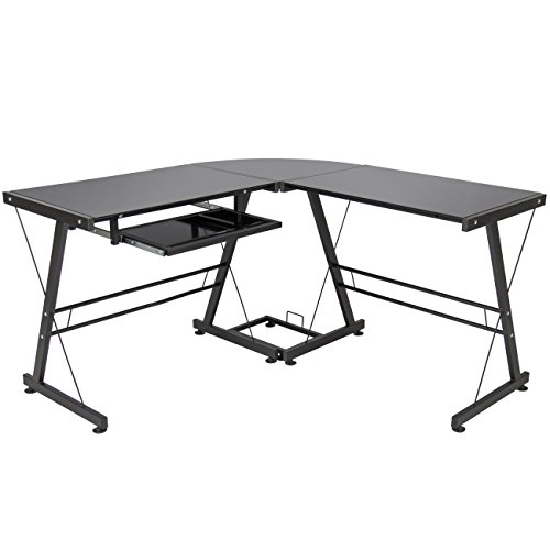 Best Choice Products L-Shape Computer Desk PC Glass Laptop Table Workstation Corner Home Office Black