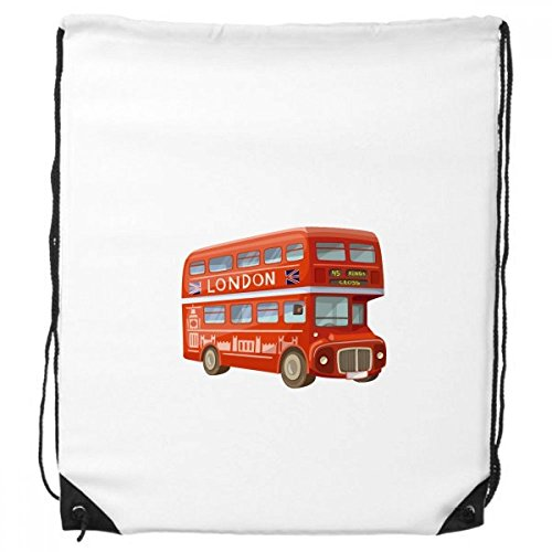 Britain UK London Red Double Decker Bus Drawstring Backpack Shopping Gift Sports Bags