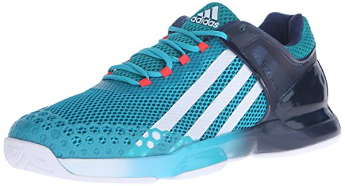 adidas Performance Men's Adizero Ubersonic Tennis Shoe,Shock Green/White/Blue,11 M US