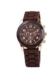 Geneva Brown Silicone Wristband Quartz Watch