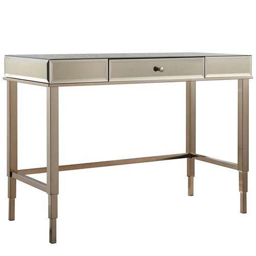 HomeHills Prezia Champagne Brass Mirrored Writing Desk by HomeHills